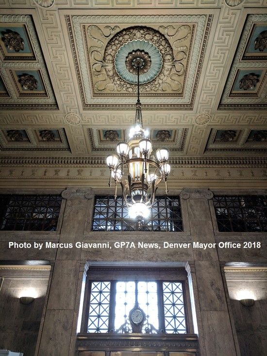 chandelier inside the city and county of Denver building Photo by Marcus Giavanni GP7A News